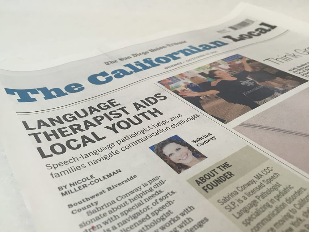 Lil' Chit-Chat Featured in Local Newspaper for Speech Therapy Work in Temecula Valley